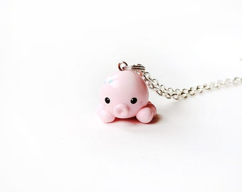 Pink and Blue Octopus Charm Necklace Polymer Clay Jewelry