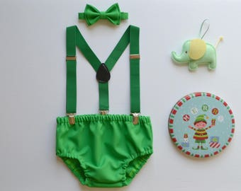 Baby Boy Green Cake Smash Outfit -- Baby Boy First Birthday Outfit Green