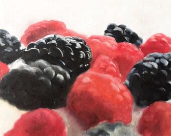 raspberries painting Food Art fruit PRINT Summer Fruits - Raspberries and Blackberries Art Print - from original painting by J Coates