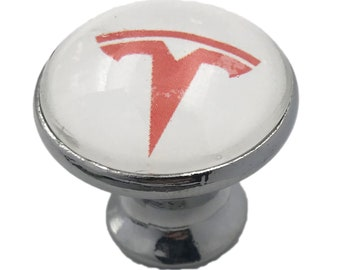 Tesla Red on White Glass Knob for Dresser Drawers, Cabinet Drawers, Kitchen Cabinets