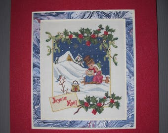 """Merry Christmas"" cross stitch Embroidery picture"