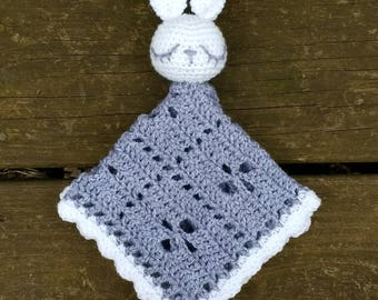 Bunny Security Blanket - Crochet - Lovey - Cuddler - Lace - Filet - Gray - White - 12 x 11.5 inches - Amigurumi - Sleepy - Embroidered