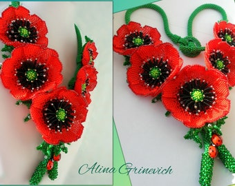 Women's beaded necklace Red poppies Ukrainian embroidery Beaded flowers Poppy necklace Gift for the wife Ukraine For her Handmade gift