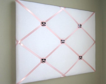 """16""""x20"""" White  Light Pink French Memory Board, Bow Holder, Bow Board, Vision Board, Photo Display, Business Card Display, Ribbon Board, Teen"""