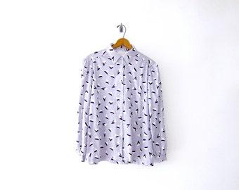 50% of Proceeds go to Planned Parenthood! Vintage 80's Geometric Pattern Buttondown, Women's Medium, Pleated Gray Shirt/Blouse, Memphis