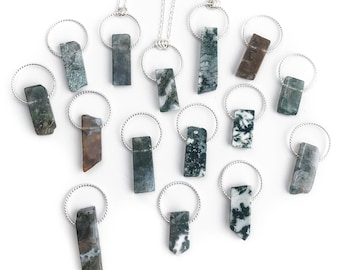 Moss Agate and Sterling Silver Pendant Necklace - You choose the Length Stone and Silver Necklace - Rectangle Stone Pendant - Agate Jewelry