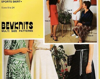 ON SALE 1980's Sewing Pattern - BevKnits No 7002 Ladies Skirt Gore, Straight, Flip, Multi Gore, Pleats, Size 8 - 24 Factory folded and compl
