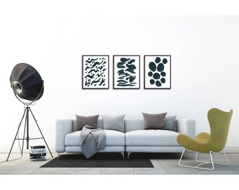 Set of 3 prints. Gouache painting set. Abstract art set. Minimalist Wall art. Print set. Modern home decor wall art.