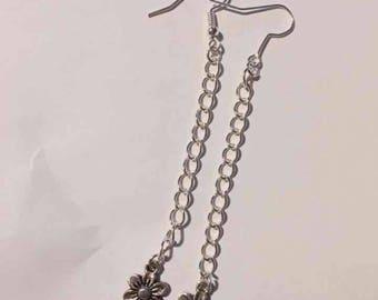Long drop flower earrings