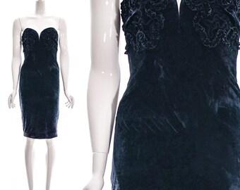 Vintage Deadstock 90s Black Green Crushed Velvet Sweetheart Mini Dress Boning Strapless Ruffled Abstract Trim Embroidery Bodycon Bandage S M