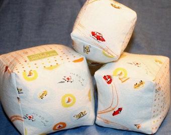 Racecars Fabric Play Blocks - set of 3 - small, medium, large - boy baby shower, toddler gift, boy birthday gift