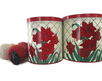 Vintage Kitchen Canisters, Kitchen Storage Containers, Two Metal Canisters, Flowers Iris, Red Kitchen Decor, Coffee Tins, Farmhouse Kitchen