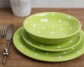 Dinnerware Set | Pottery Dinnerware | Handmade Ceramic Lime Green and White Polka Dot Tableware Set, Housewarming Gift Dinner Set