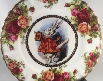 SOLD ------------Original Tenniel Drawing Alice in Wonderland Royal Albert Design Side Plate with a White Rabbit in the Centre