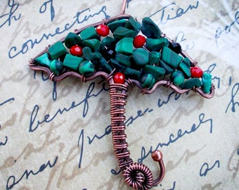 Malachite Necklace Pendant/Wire Wrapped Pendant Umbrella/Gift for a woman/Beauty Gift