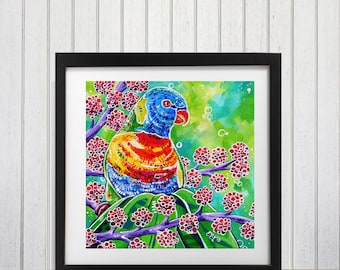 Rainbow lorikeet art, Parrot art, Lorikeet painting, Tropical decor, Parrot wall art, Australian Birds, Brightly colored