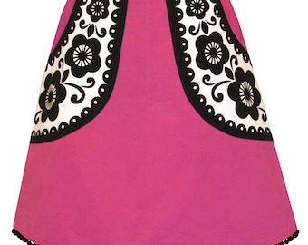 pocketful of posies skirt - fuchsia and black - graphic flowers screen printed on big pockets, trimmed with pom pom fringe