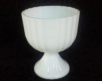 Vintage Milk Glass Ribbed Large Compote - Vintage Wedding Decor - Centerpiece - Milk Glass Vase
