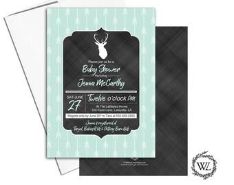 chalkboard deer baby shower invitation rustic | arrow baby shower invites neutral | printable or printed - WLP00865