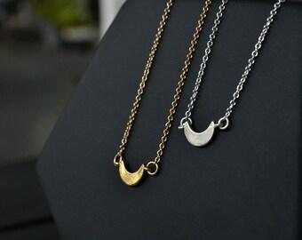 Small Half Moon Choker | Crescent Moon Necklace | Short Gold or Silver Moon Choker