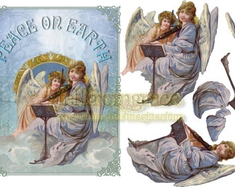 Printable 3d collage set - Vintage collage Christmas Angel Peace on Earth card - Instant download