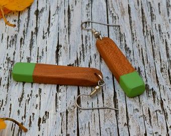Earthy Natural Earrings Green, Painted Jewelry, Cherry Wooden Jewelry, Long Dangle Earrings, Handmade Jewelry