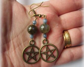 aquamarines bronze labradorite earrings