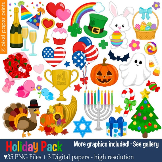 holiday pack clip art set holiday clipart rh etsy com holiday clipart images holiday clipart for kids