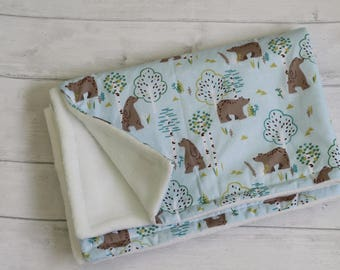Baby Blanket, Boy Blanket, Girl Blanket, bear print, baby shower gift, soft blanket, pram blanket