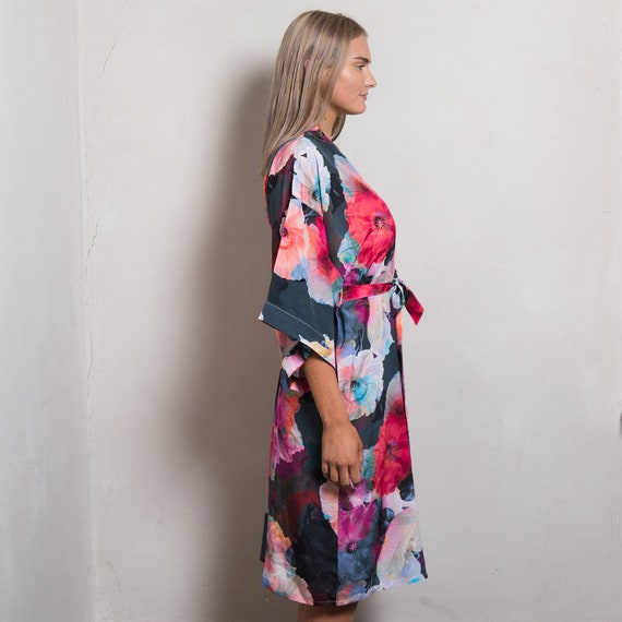 Printed Silk Dressing Gown Dark Poppy