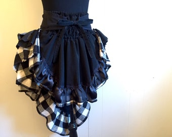 Black and Plaid Gothic Steampunk Style Ruffled Adjustable Bustle Skirt