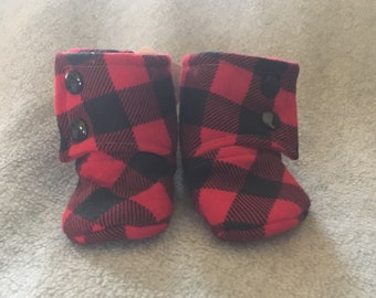 Red and Black Plaid Stay On Baby Booties