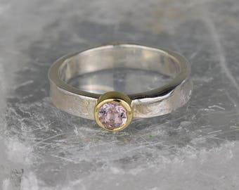 Morganite Simple Silver Ring   Unusual Morganite Engagement Ring   Textured Silver   Pink Gemstone Promise Ring   Rustic Engagement Ring