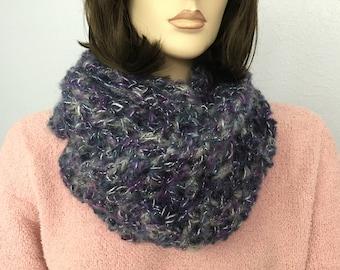 Women Crochet Infinity Scarf Women Knit Cowl Chunky Cowl Women Winter Accessories Christmas Gift under 50