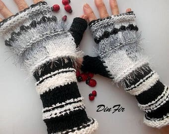 Women L 20% OFF Ready To Ship Accessories Fingerless Gloves Hand Knitted Mittens Warm Wrist Warmers Winter Arm Wool Mohair Striped 1219