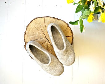 Just Grey Wool Slippers Eco Friendly House Shoes by Indre Naujokiene