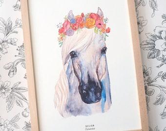 Printable art Flower Crown Horse Print