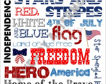 8 x 10 4th of July Subway Art - Digital Download - PDF File