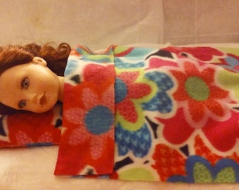 Colorful floral Fleece blanket & pillow set for 18 inch dolls - agfb5