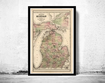 Old vintage map of Michigan 1885