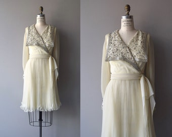 Champagne Toast dress | vintage 1960s dress | chiffon 60s beaded party dress
