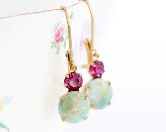 Mother Gift - Crystal Earrings  - Green Dangle Earrings - Vintage Jewel Earrings - Pretty Earrings - Glass Jewel Earrings - Aqua and Pink