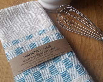 Chef's Towel Handwoven Teal Sustainable Cotton Organic Cottolin