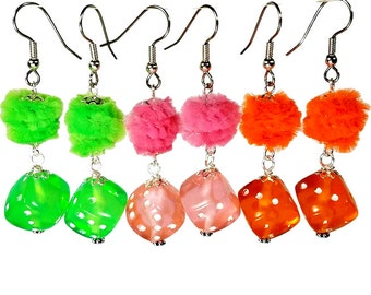 Neon Dangle Earrings,  Dice Earrings, Neon Jewelry, Rockabilly Earrings, Lime, Orange, Fun and Funky Gift Ideas, Los Vegas Party, Lucky Dice