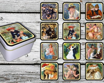 Pierre Auguste Renoir Style on 12 Fridge Magnets - with a  gift box.  FREE SHIPPING