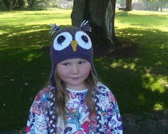 Crochet owl hat in dusky purple and barley size teen/ small adult, gift for teens, Christmas gift