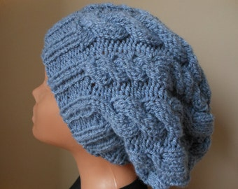 Hand Knit Slouchy Beanie Hat Acrylic Blue Jeans