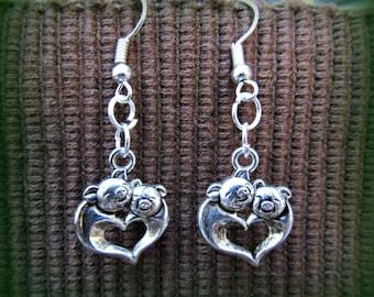 Silver Pig Love Earrings - Heart Hog Jewelry