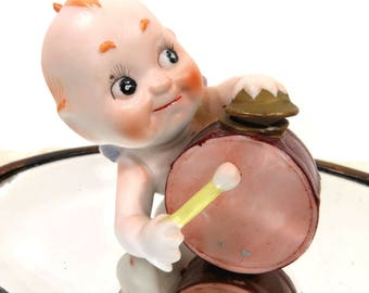 Kewpie Angel Drum Player, Vintage Ardalt, Blue Winged Bisque Figurine, #6490E, Band Member