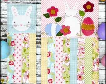 Prim Easter mini quilt pattern PDF - 3 designs wool primitive folk art embroidery